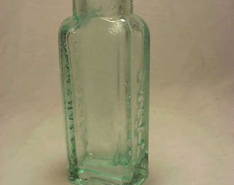 c1880s Doct. Marshall's Snuff , Cork top Aqua Blown Glass Patent Medicine Tobacco Bottle No. 3