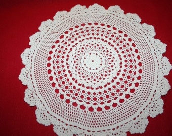 Vintage Hand Crocheted Doily- 12 inch