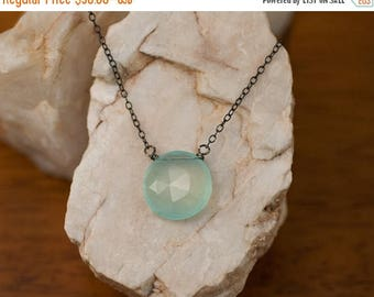 40 OFF - Aqua Blue Chalcedony necklace - Layering Necklace - Oxidized Silver Necklace - Gemstone necklace  - Round Stone Necklace - Gift for