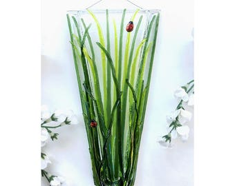Fused Glass Wall Vase