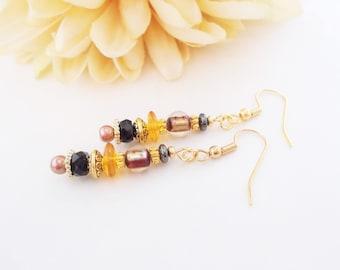 Boho Gold Jewelry, Bohemian Dangle Beaded Artisan Earrings, Brown Black Earrings, Gift for Her, Gypsy Earrings, Hippie Earrings, Sister Gift