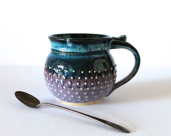 Lavender/Black/Blue Coffee Mug with Porcelain Dots, Handmade Pottery, Tea Mug