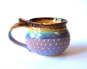 MADE TO ORDER...One Handmade Pottery Coffee Mug, Porcelain Dot Mug, Lavender and Mocha Cream