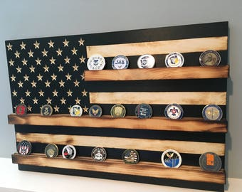 Subdued Black and White Wood US Flag Military Challenge Coin Display Rack Holder Collector Gift Army Navy Air Force Marines Coast Guard