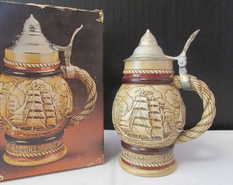 "Ceramarte Avon 1977 ""Tall Ships"" BEER STEIN MUG with Lid"