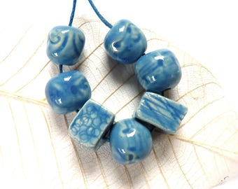 Ceramic beads, 7 handmade clay beads, blue stoneware beads, rustic bead for jewelry making, OOAK jewellery supplies, unique supply