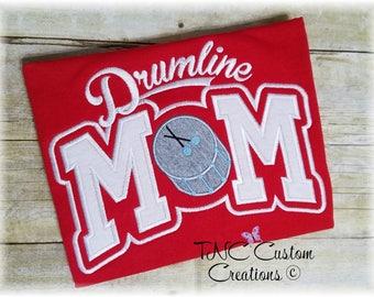 Custom Embroidered Adult applique Drumline Mom t-shirt