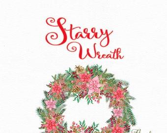 Poinsettia wreath clipart, watercolor clipart, Christmas wreath clipart,holiday wreath,Christmas clipart,pine wreath,invitation clipart