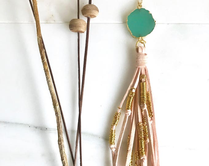 Boho Tassel Necklace. Pink and Green and Tassel Necklace. Long Stone Slice Tassel Necklace. Boho Jewelry. Unique Gift Idea.