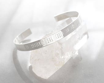 She Believed She Could So She Did Engraved Bangle Bracelet-Engraved Statement Bangle Cuff Bracelet, Create Your Own Cuff, Personalized Cuff