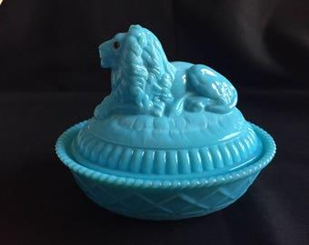 Westmoreland Blue Milk Glass Atterbury Lion on Basketweave Base CAD