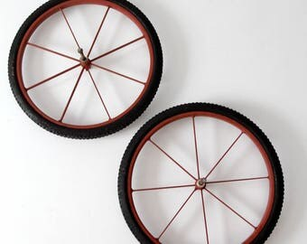vintage wheels, metal spoke wheel set of 2 with rubber tires