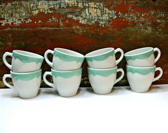 Shenango China Coffee Cups - Set of 8 Seafoam Green Scallop Wave Rim - Vintage Ceramic Restaurant Ware