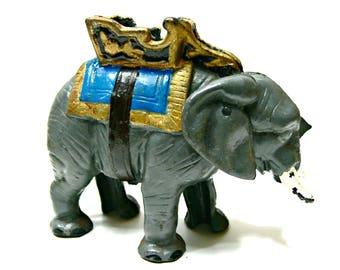 Vintage Cast Iron Elephant Mechanical Bank - Collectible Circus Animal Figurine