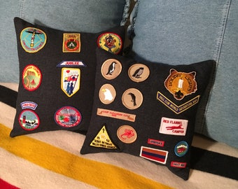 Vintage BOY SCOUTS of AMERICA Embroidered Badges & Patches Decorative Pillow Cover
