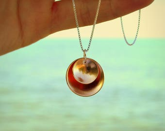 Rose Gold Circle Necklace Disc Minimalist Rose Gold Jewelry