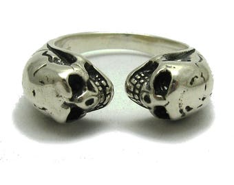 Sterling silver ring solid 925 two skulls biker pendant
