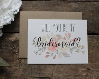 Watercolor Floral Will you be my Bridesmaid Card, Maid of Honor, Wedding Party - 1 card