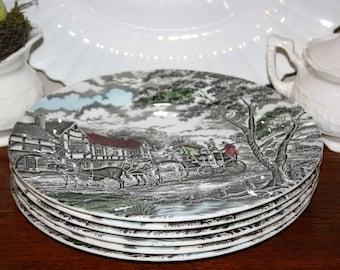 "Myott ""Royal Mail"" Six 6 Dinner Plates Staffordshire England Ironstone Transferware Brown 1982 10 Inch"
