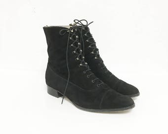 SALE! Until Feb 24th! Size US 7.5 / Granny Boots, Suede, Italian, Vintage Boots