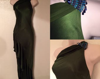 Beautiful Hunter Green Silk Satin Flapper Style Gown