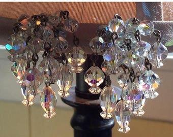 "SPECIAL Vintage Crystals waterfall Clip Earrings Dangles 1 1/2"" Long"