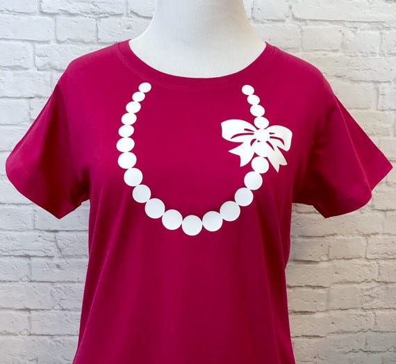 Necklace with Pearls and Bow T-shirt for Women Pictured in Fuchsia with White Necklace