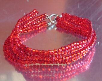 """SALE Red Cuff Bracelet 6.75"""" Red Herringbone Beads Bracelet Beadwoven Bracelet Red Stitch Bracelet  Beaded Cuff Bracelet Beaded Jewelry"""