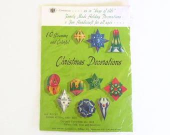 1973 Chadwick-Miller Inc. DIY Christmas Ornament Kit, Unused Vintage Ornament Kit, Paper Folding Ornament Kit, Family Handicraft Kit