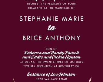 Custom Listing for stephiemhan, Burgundy and Rose Gold Wedding Invitation Set | Laurel Wreath Stationery | Discount Invite Suite