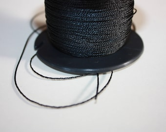 1 mm TWISTED BLACK Cord = 1 Spool = 110 Yards = 100 Meters of Elegant Polypropylene Rope for Macrame, Sewing, Crocheting, Knitting