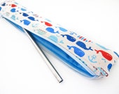 Zippered Reusable Straw Case - Whales