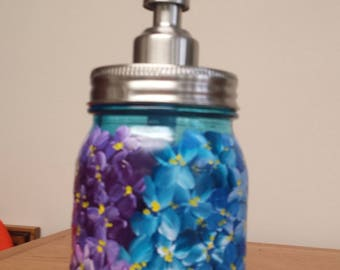 pint mason jar soap dispenser, Hydrangea blue glass Mason Jar Soap Dispenser, hydrangea Mason Jars,   Hand painted mason jar soap pump