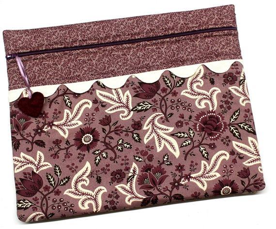 Purple Primitive Cross Stitch Embroidery Project Bag