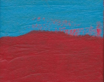 ON SALE Contemporary Abstract Painting 4 x 4 inches Artist with Autism Red Blue Wall Decor Art Design
