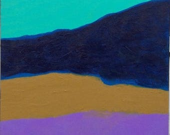 ON SALE Abstract Painting - Artist with Autism - Purple Teal Mustard Blue
