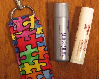 Autism Awareness Chapstick Holder,Puzzle Lip Balm Holder, Chapstick Holders, Fabric Lip Balm Holder, Fabric USB Holder, Back to School