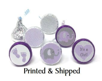 Printed 324 Baby Shower Stickers for Candy Kiss® -Purple & Gray (Grey) Baby Elephant Lavender Chevron Chocolate Kisses for Party Favors