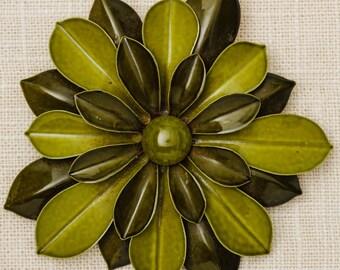 Large Green Flower Brooch Vintage Olive Dimensional Enamel Broach Vtg Pin 7N