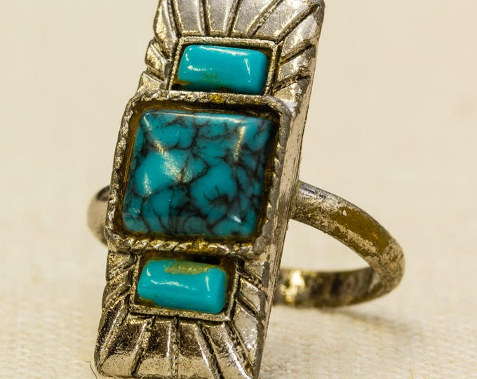 Southwestern Style Vintage Ring Silver Turquoise Stone Rectangle Adjustable Size 7RI
