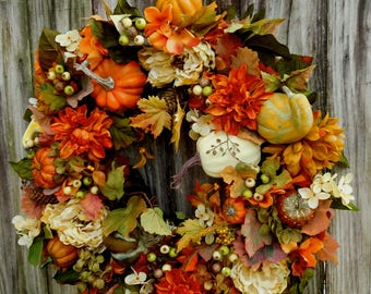 Fall Wreath, Wreath , Fall Decor , Thanksgiving Wreath , Fall Door Wreath , Autumn Wreath , Front Door Wreath , Outdoor Wreath
