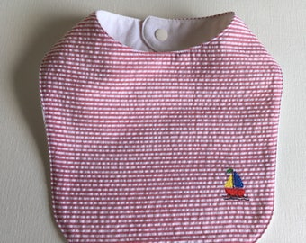 Bib with mini embroidery, Red and White seersucker, SAILBOAT, crab, crawfish, bib, Free Shipping with additional purchase, made in the USA