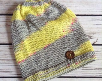 Yellow Knit Adult Slouch Hat, Womens Yellow Knit Hat, Wool Hat, Teen Wool Hat, Knit Teen Slouch, Slouchy Hat, Knitted Hat, Grey Wool Hat