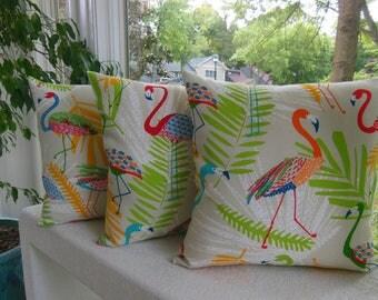 Outdoor Flamingo Pillow - Porch Pillow - Bright Beach Pillow - Orange Pillow - Green Pillow - Turquoise Pillow - Outdoor Pillow Bird Pillow