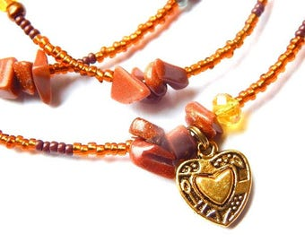 Heart of Gold Waist Beads, Gold Stone Waist Beads, African Waist Beads, Gold Heart Belly Chain,  African Belly Chain