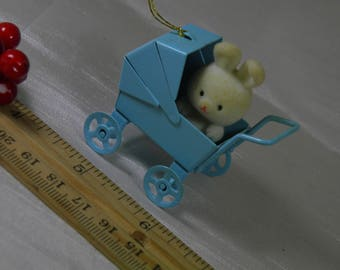 Baby Buggy Stroller Ornament Vintage Decoration Bunny Christmas Decor- Holiday - White and Blue- Boy