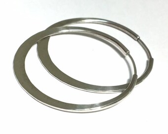 Sterling Silver Hoops - 2 inch diameter -  Endless Design - Continuous Style - Cold Forged - Crescent shape