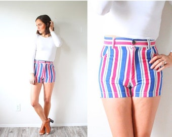 30% OFF SALE Vintage striped high waisted shorts // red white and blue shorts // fourth 4th of July shorts // striped high waist shorts // r