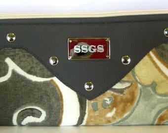 grey faux leather floral clutch bag
