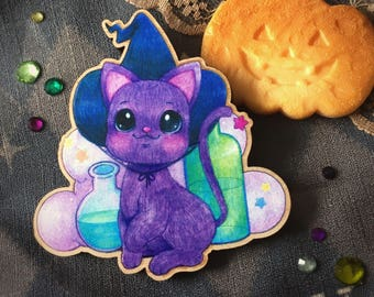 Witch Kitty Wooden Brooch ~ Gingerbread Forest